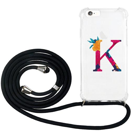 Apple iPhone 6 / 6S GLAM. Case Band Silver Bokstaven - K