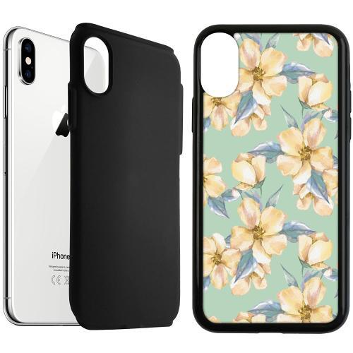 Apple iPhone XS Max Duo Case Svart Waterproof Flowers