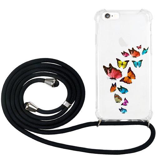 Apple iPhone 6 / 6S GLAM. Case Band Silver Fjärilar