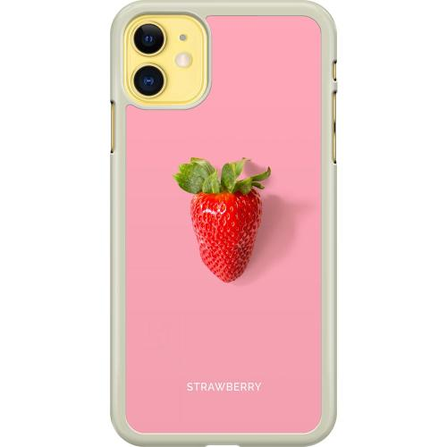 Apple iPhone 11 Hard Case (Transparent) Strawberry