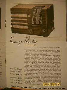 779. Såld. Kungs Radio, produktbeskrivning och prislista. År: 1937-1938. Tillv: 1937 Sverige.   101_0454