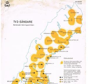 TV 2-Sändare beräknade täckningsområden 1970. Del 2.