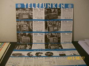 781. Såld. Telefunken, produktbeskrivning/prislista. Radio Telefunken 2. 37. Tillv: 1937.   101_0466