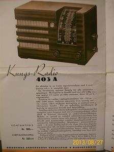 779. Såld. Kungs Radio, produktbeskrivning och prislista. År: 1937-1938. Tillv: 1937 Sverige.   101_0455