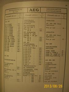 786. AEG, prislista nr. 37a till katalog nr. 35 å elektriskt material. Tillv: 15 januari 1938 i Stockholm. Bröderna Lagerströms boktryckare   101_0473