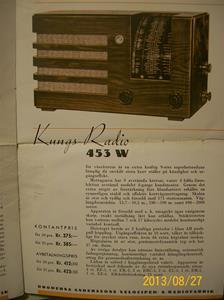 779. Såld. Kungs Radio, produktbeskrivning och prislista. År: 1937-1938. Tillv: 1937 Sverige.   101_0456
