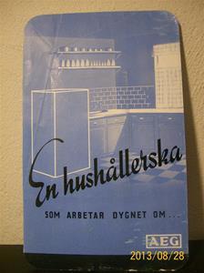 782. AEG, Santo Kylskåp. Reklam/broschyr/prislista. Tryck: Esselte Stockholm 36, år 1936.  101_0467