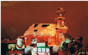 2009.  Julafton hos oss på Stora vägen 65 i Havdhem.  Kyrkan i vår julby, ser nästan verkligt ut. Bild 2. Fotat av Sivert.