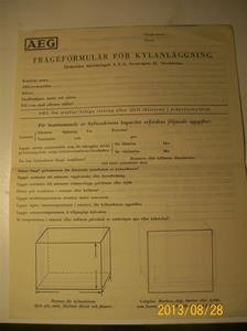 784. AEG, frågeformulär för kylanläggning. Nr: 616421. År 1936. 101_0470