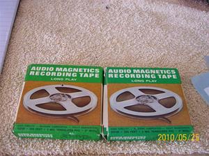 387 och 388. Audio Magnetics Recording Tape. Typ: Long Play 225 Feet. Nr: 22230. Fotonr: 100_5761