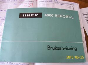 389. UHER, bruksanvisning(bandsp. finns i min samling). Typ: 4000 Report-L. Nr: 720131. fotonr: 100_5762
