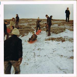 Pulkaåkning på Hoburgen slutet på 60-talet.