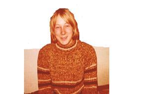 Nyman ser ganska nöjd ut, censurerad bild. Troligen 1976