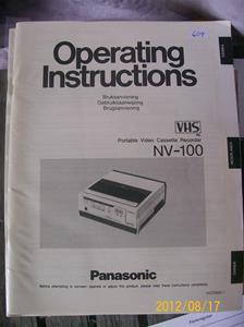 604. Panasonic, instruktionsbok från Sveriges Radio/Television. . Typ: NV-100. Nr: VQT 0935-1. Boken tillhör Nr: 603. Fotonr: 100_9470