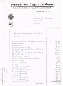 Byggmästare August Jacobsson Fardhem 1957 06 05, faktura.