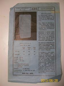 788. AEG, produktbeskrivning för hushållskylskåp. Nr. 12 d. Tillv: 11:e oktober 1935. Pris: 695:-. . Samma typ av produktblad som 787. Tydligare bild. 101_0476