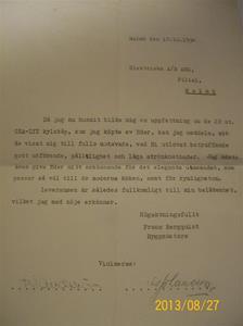 775. Brev gällande köp av AEG:s kylskåp. Daterat 17:e oktober 1934. 101_0443