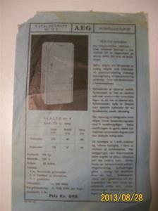 787. AEG, produktbeskrivning för hushållskylskåp. Nr. 12 d. Tillv: 11:e oktober 1935. Pris: 695:-. 101_0475