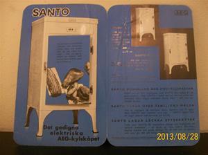 782. AEG, Santo Kylskåp. Reklam/broschyr/prislista. Tryck: Esselte Stockholm 36, år 1936. 101_0468