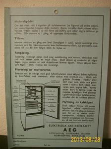 789. AEG, skötselanvisning av GEA-lyx kylskåp. Tillv: Maj 1935. Iduns tryckeri Esselte Sthlm 35.  101_0478