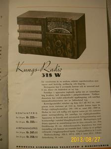 779. Såld. Kungs Radio, produktbeskrivning och prislista. År: 1937-1938. Tillv: 1937 Sverige.   101_0452
