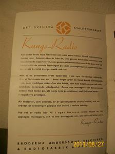 779. Såld. Kungs Radio, produktbeskrivning och prislista. År: 1937-1938. Tillv: 1937 Sverige.  101_0451