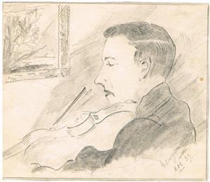 Porträtt av Erik Jacobsson, tecknat av Axel Mattsson 1939.