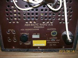 910. AGA Baltic Radio AB, rörmottagare. Typ: AGA Riksmottagare. Nr: 145370. Fotonr: 101_0744.