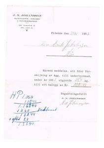 J.N. Johansson Manufaktur. Speceri & Diversehandel. Äggleverans 1952.