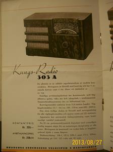 779. Såld. Kungs Radio, produktbeskrivning och prislista. År: 1937-1938. Tillv: 1937 Sverige.   101_0453
