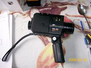 055. Sankyo Seiki, smalfilmskamera. Typ: ES-33 Electronic system Super 8 + väska. Fotonr: 100_1129. Inlagt på webben 2014 06 02.