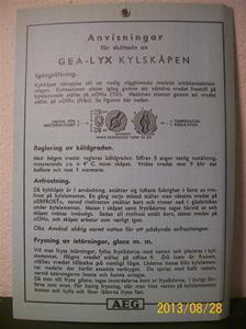 789. AEG, skötselanvisning av GEA-lyx kylskåp. Tillv: Maj 1935. Iduns tryckeri Esselte Sthlm 35. 101_0477