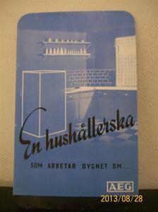783. AEG, Santo Kylskåp. Reklam/broschyr/prislista. Tryck: Esselte Stockholm 36, år 1936.    101_0469