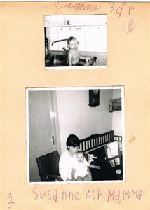 Susanne i diskhon, samt Susanne o Anna-Stina i köket på Näs.1968 001