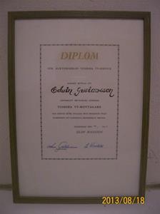 711. Diplom till Elvir Gustavsson för genomgången Servicekurs vid Toshiba. 1961 01 10. 101_0317