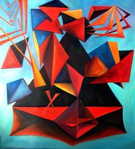 Musikens och färgernas geometri. Oljemålning. Geometry of music and colour. Oilpainting.
