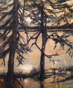 Magiskt gryningsljus över skogssjön