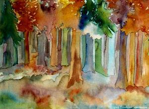 höstskog akvarell