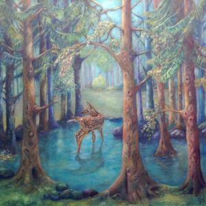 Vitsvanshjort i skogsdammen
