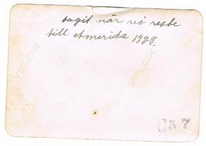 4.Resan till Amerika 1928. Baksidan.