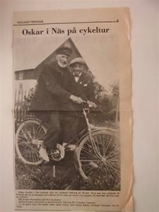 Oskar Gardell från Näs på cykeltur i sokni. Tidningsurklipp jag fick från Monica Fröling Havdhem 2015 04 04.