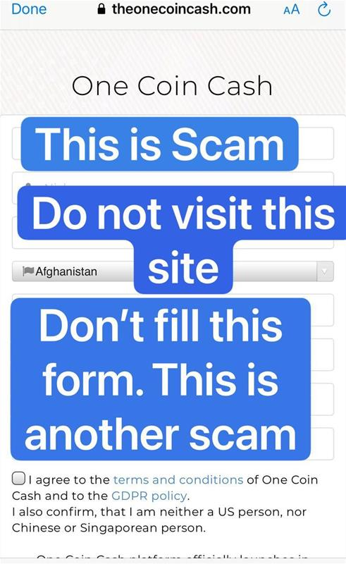 Another OneCoin scam