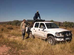 Jag och Norman vid jaktbilen