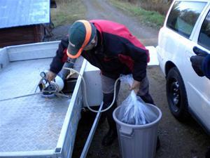 7. Säcken fylls med ren syrgas