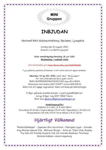 Inbjudan Minigruppen Ljungskile 2021