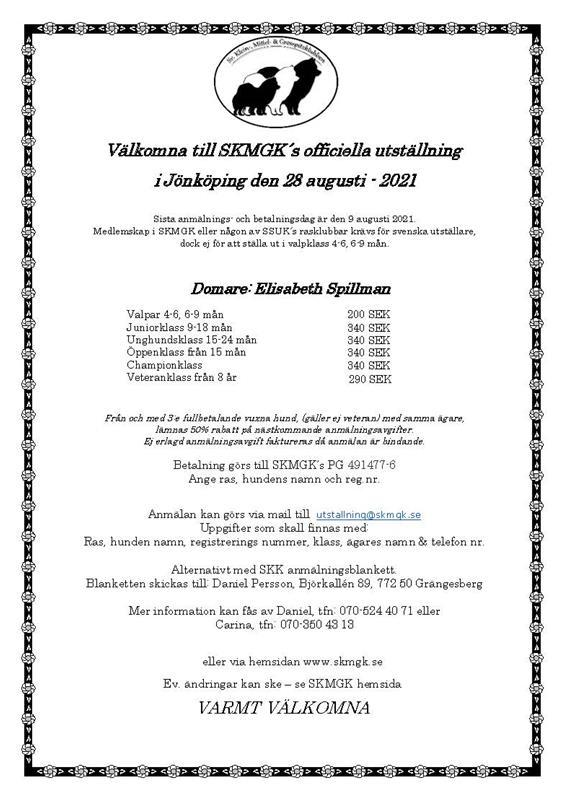 Inbjudan officiell utställning SKMGK 2021