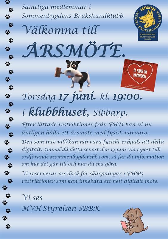Inbjudan Årsmöte 2021-06-27 fysiskt