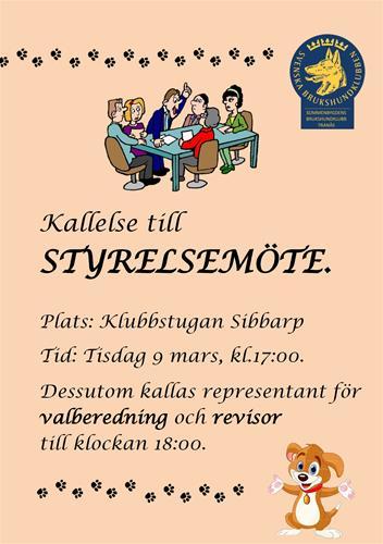 Kallelse styrelsemöte 2021-03-09