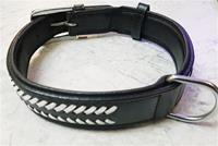 Halsband i läder med dekoration