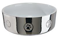 Keramikskål, silver/vit